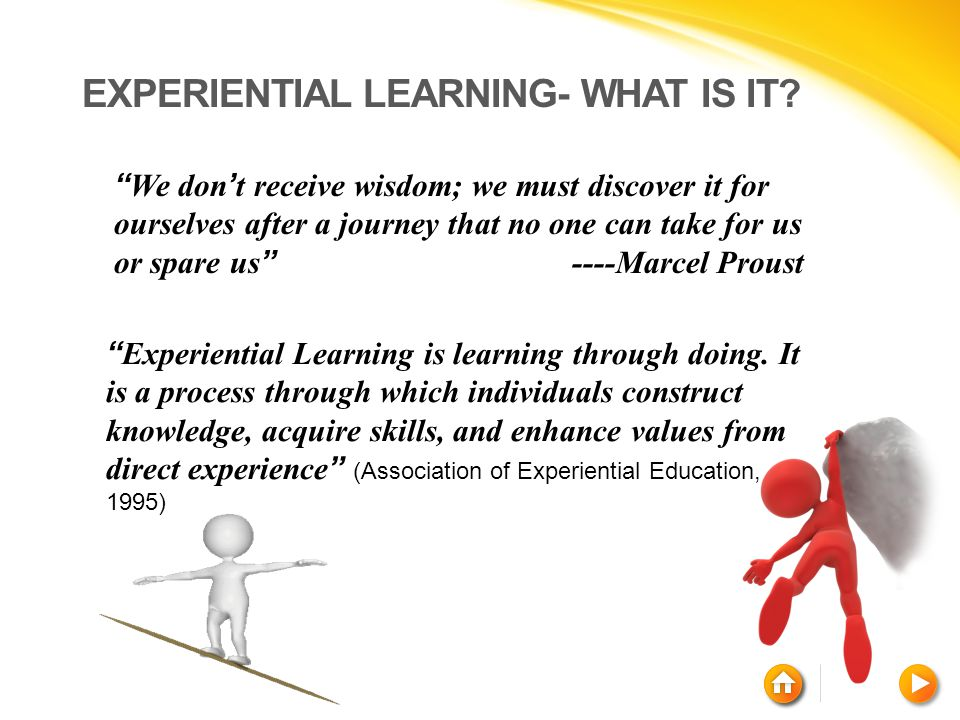 """EXPERIENTIAL LEARNING- WHAT IS IT? """" Experiential Learning is learning through doing. It is a process through which individuals construct knowledge, a"""