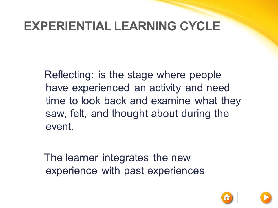 EXPERIENTIAL LEARNING CYCLE Reflecting: is the stage where people have experienced an activity and need time to look back and examine what they saw, f