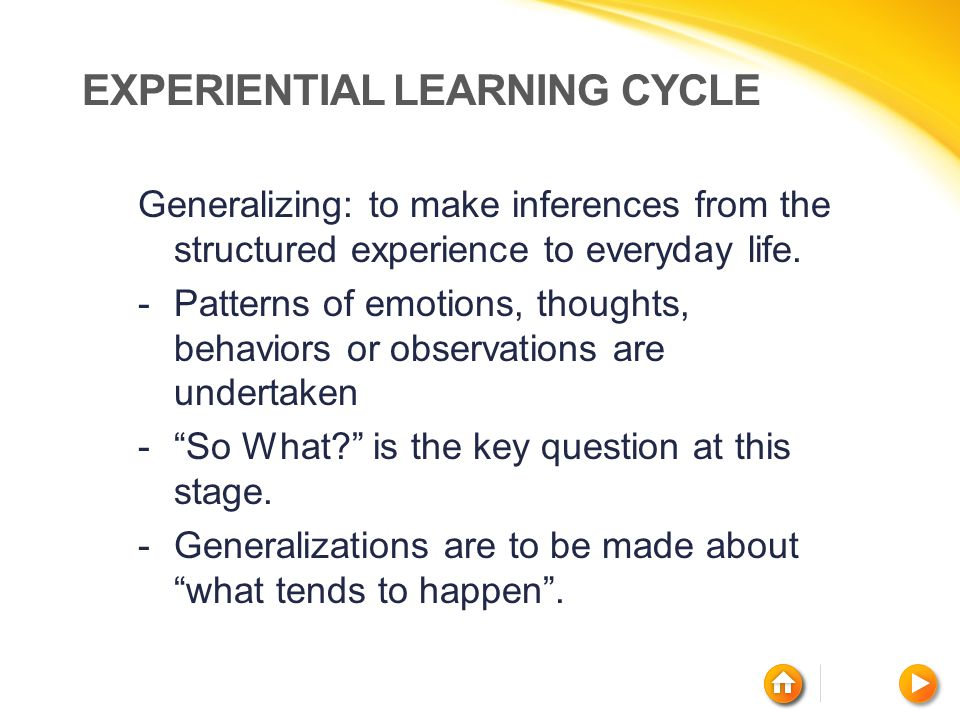 EXPERIENTIAL LEARNING CYCLE Generalizing: to make inferences from the structured experience to everyday life. -Patterns of emotions, thoughts, behavio
