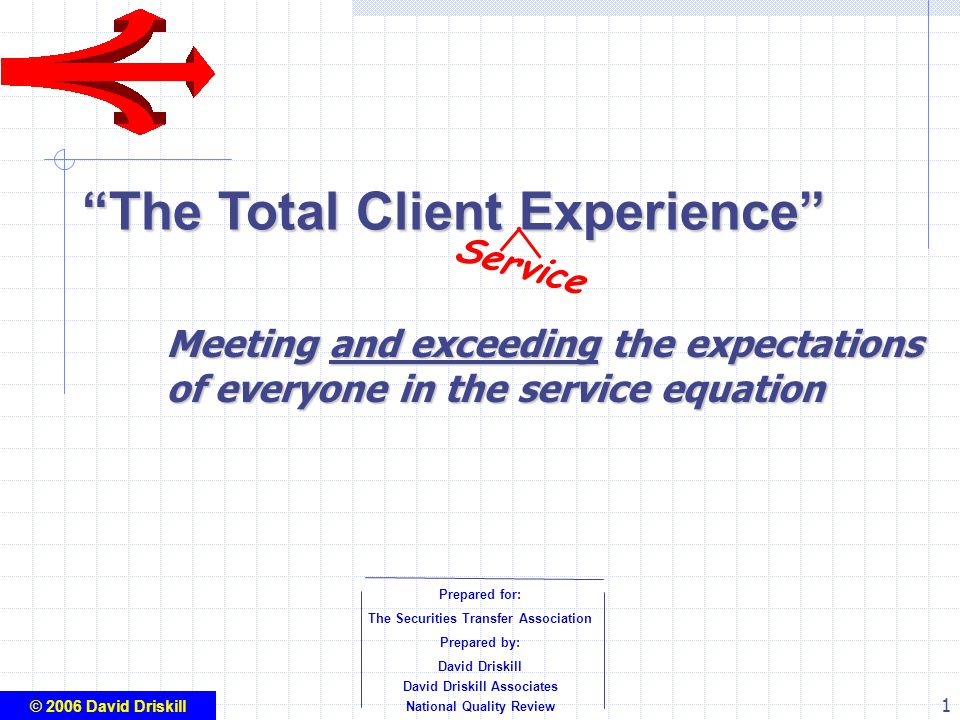 1 The Total Client Experience Prepared for: The Securities Transfer Association Prepared by: David Driskill David Driskill Associates National Quality Review © 2006 David Driskill Service Meeting and exceeding the expectations of everyone in the service equation