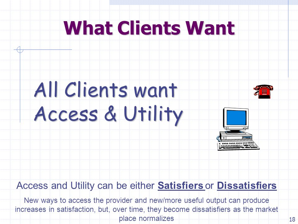 18 What Clients Want All Clients want Access & Utility Access and Utility can be either Satisfiers or Dissatisfiers New ways to access the provider and new/more useful output can produce increases in satisfaction, but, over time, they become dissatisfiers as the market place normalizes