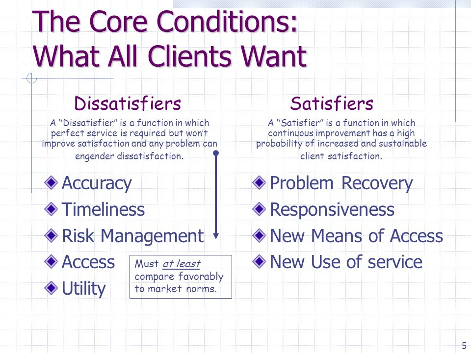 6 All Clients want their service provider to deliver accuracy and timeliness 1 + 1 = 2 Dissatisfiers Accuracy and timeliness are Dissatisfiers Perfect accuracy & timeliness will not increase satisfaction, but errors or being late will produce dissatisfaction.