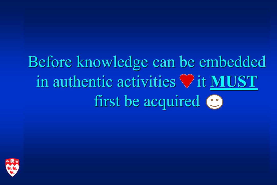 Before knowledge can be embedded in authentic activities it MUST first be acquired