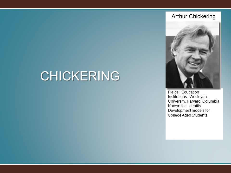 CHICKERING Fields: Education Institutions: Wesleyan University, Harvard, Columbia Known for: Identify Development models for College Aged Students Arthur Chickering