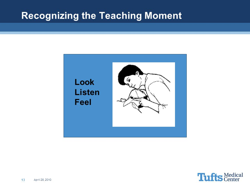 April 28, 2010 13 Recognizing the Teaching Moment Look Listen Feel