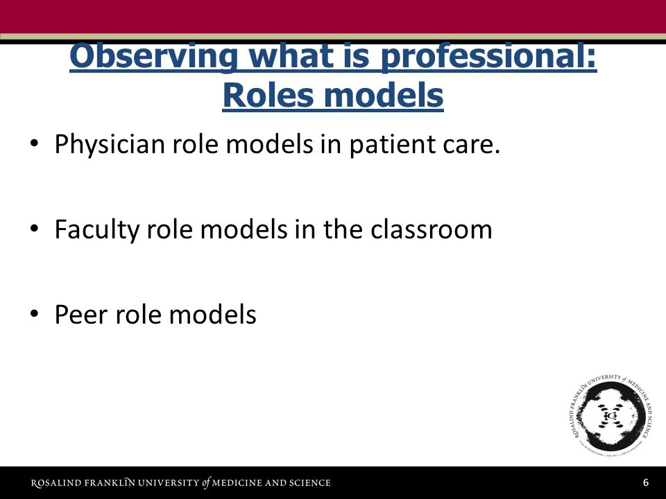 6 Observing what is professional: Roles models Physician role models in patient care.