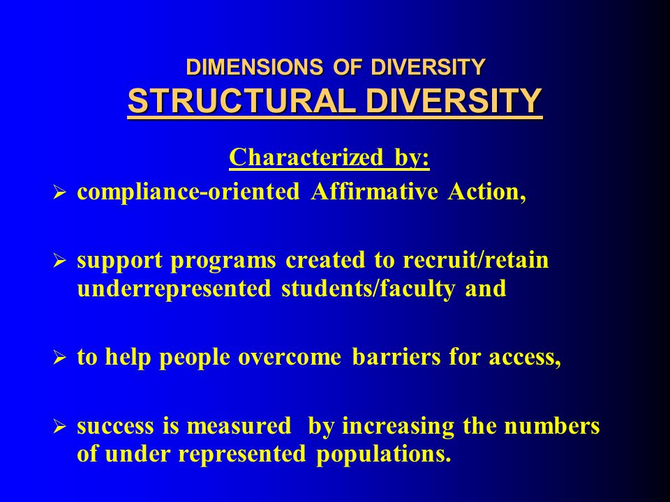 DIMENSIONS OF DIVERSITY STRUCTURAL DIVERSITY Basic Assumptions:  Assimilation  Critical Mass  Remediation