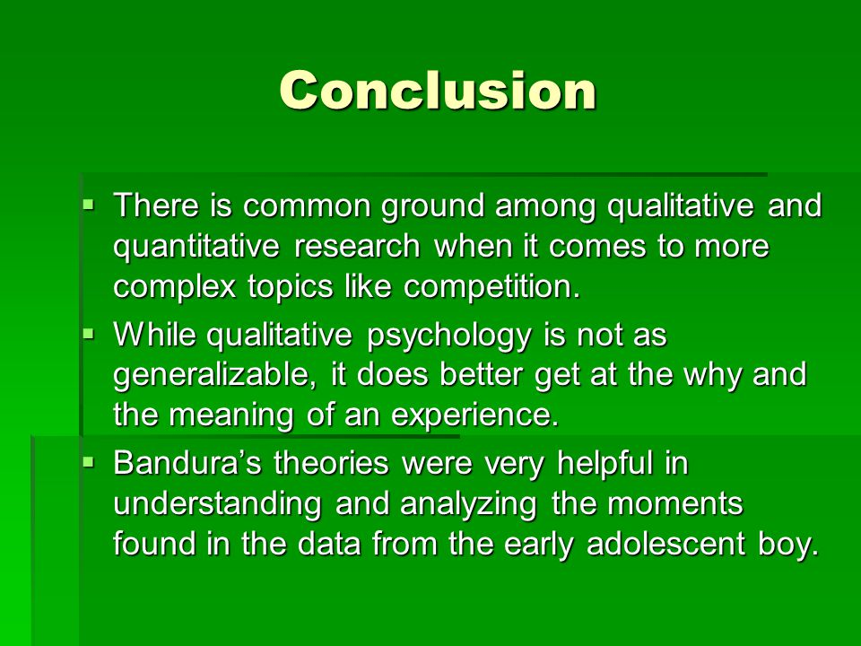 Conclusion  There is common ground among qualitative and quantitative research when it comes to more complex topics like competition.