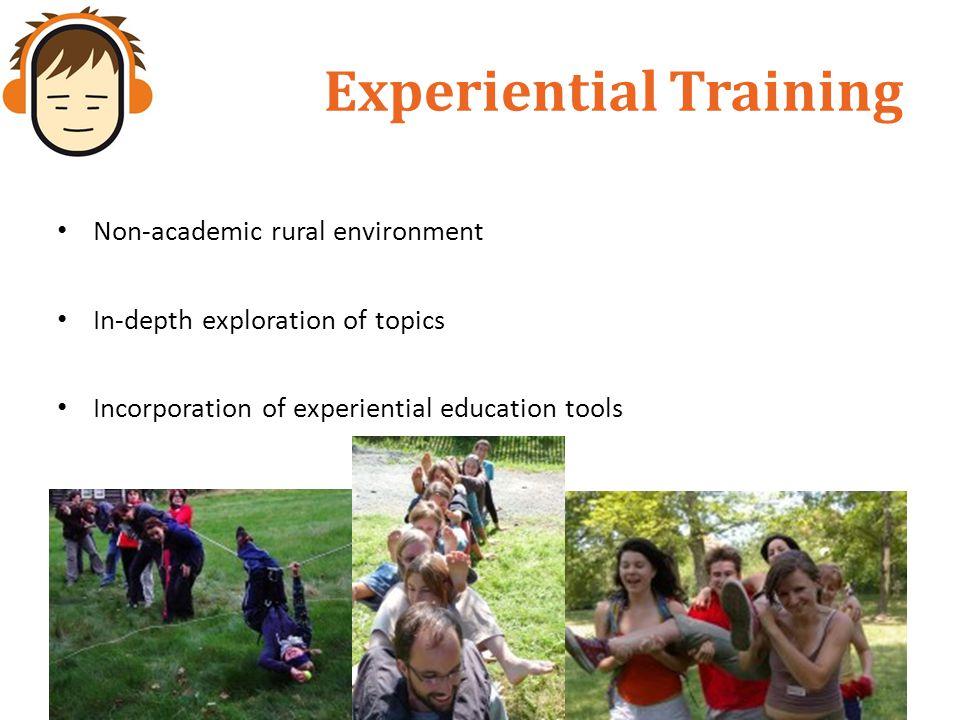 Experiential Training Non-academic rural environment In-depth exploration of topics Incorporation of experiential education tools
