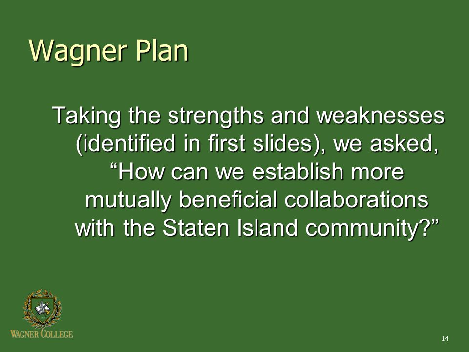 14 Wagner Plan Taking the strengths and weaknesses (identified in first slides), we asked, How can we establish more mutually beneficial collaborations with the Staten Island community?