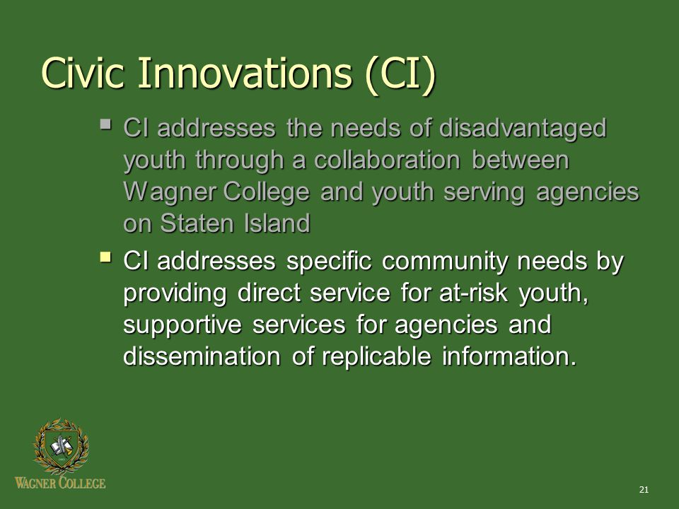 21 Civic Innovations (CI)  CI addresses the needs of disadvantaged youth through a collaboration between Wagner College and youth serving agencies on Staten Island  CI addresses specific community needs by providing direct service for at-risk youth, supportive services for agencies and dissemination of replicable information.