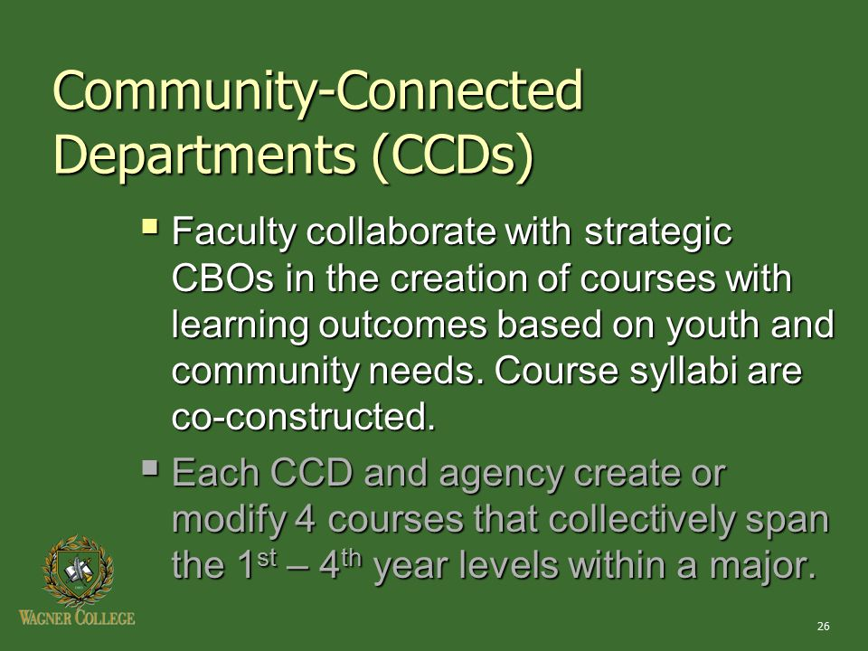 26  Faculty collaborate with strategic CBOs in the creation of courses with learning outcomes based on youth and community needs.