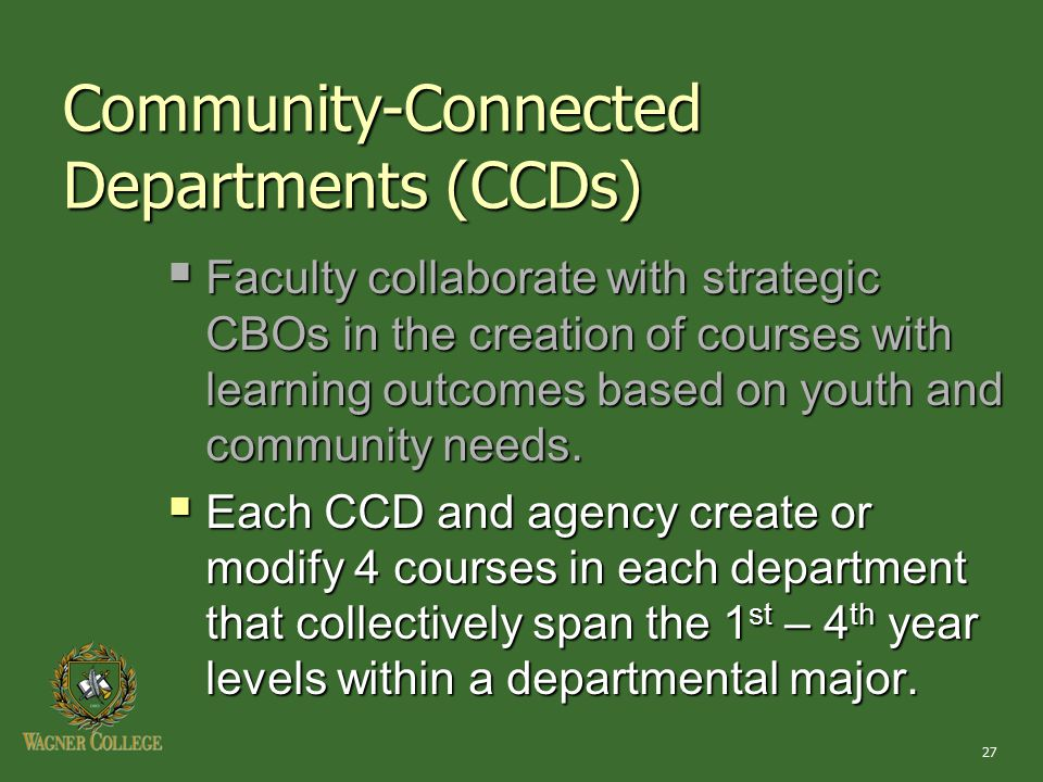 27  Faculty collaborate with strategic CBOs in the creation of courses with learning outcomes based on youth and community needs.