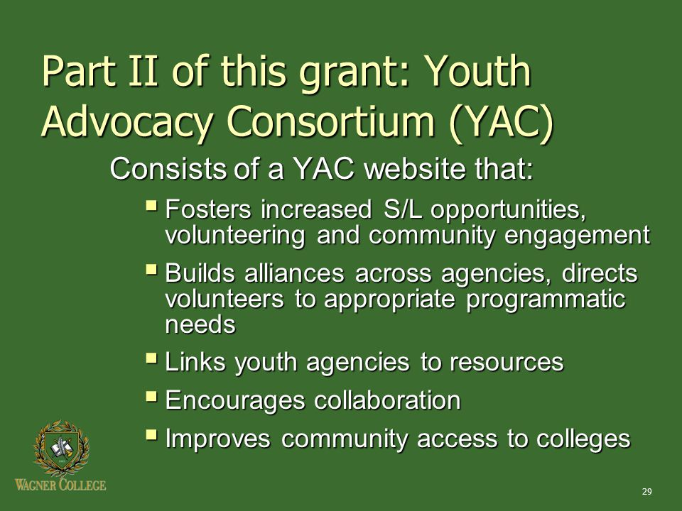 29 Part II of this grant: Youth Advocacy Consortium (YAC) Consists of a YAC website that:  Fosters increased S/L opportunities, volunteering and comm