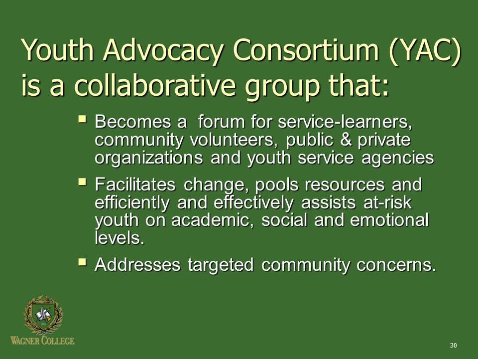 30 Youth Advocacy Consortium (YAC) is a collaborative group that:  Becomes a forum for service-learners, community volunteers, public & private organ