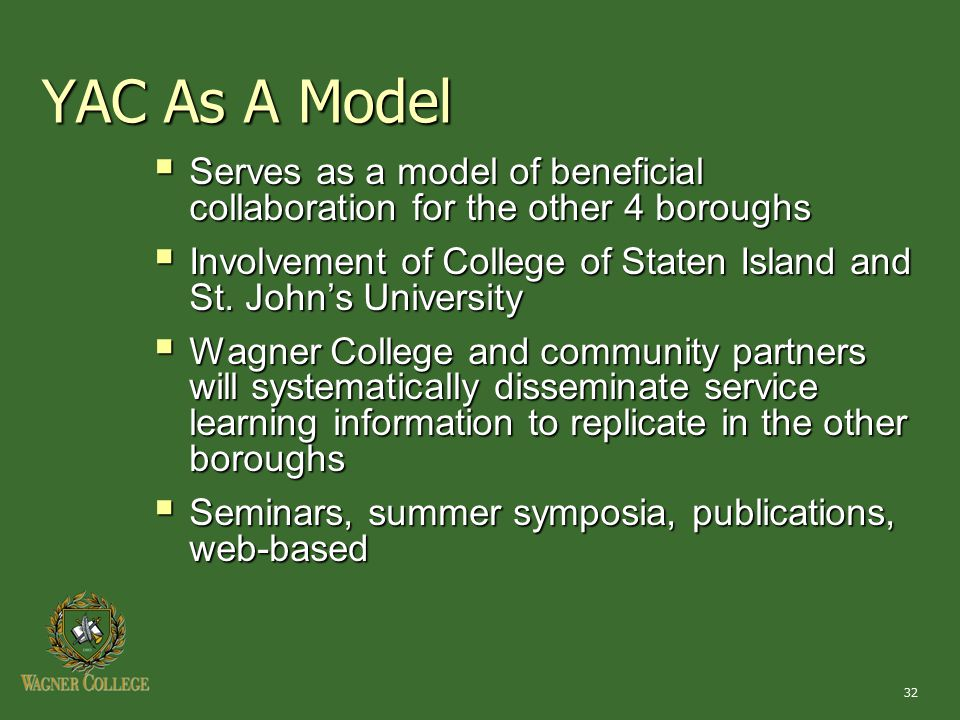 32 YAC As A Model  Serves as a model of beneficial collaboration for the other 4 boroughs  Involvement of College of Staten Island and St.