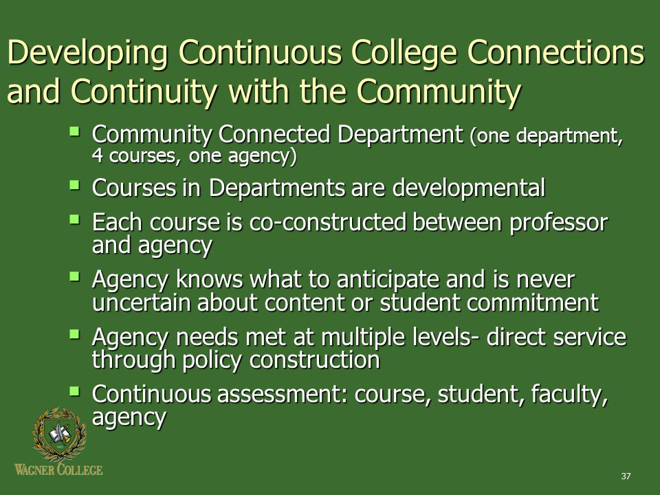 37 Developing Continuous College Connections and Continuity with the Community  Community Connected Department (one department, 4 courses, one agency