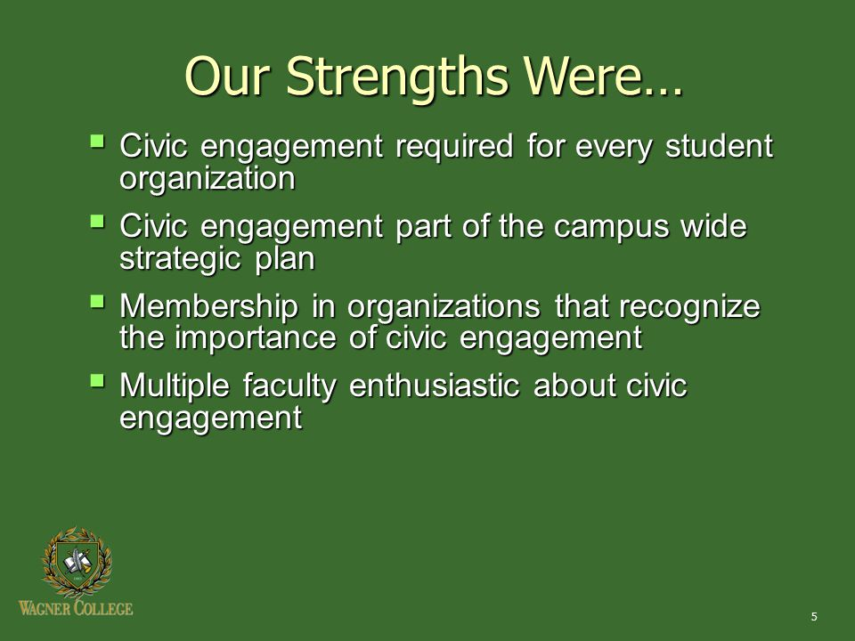 5  Civic engagement required for every student organization  Civic engagement part of the campus wide strategic plan  Membership in organizations t