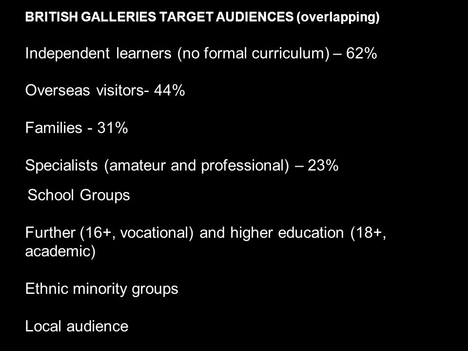 BRITISH GALLERIES TARGET AUDIENCES (overlapping) Independent learners (no formal curriculum) – 62% Overseas visitors- 44% Families - 31% Specialists (