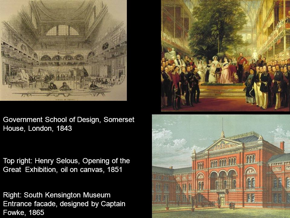 Government School of Design, Somerset House, London, 1843 Top right: Henry Selous, Opening of the Great Exhibition, oil on canvas, 1851 Right: South K