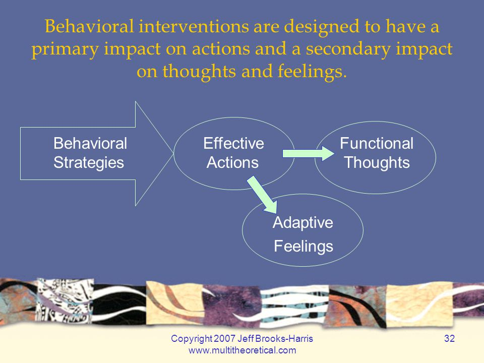Copyright 2007 Jeff Brooks-Harris www.multitheoretical.com 32 Behavioral interventions are designed to have a primary impact on actions and a secondary impact on thoughts and feelings.