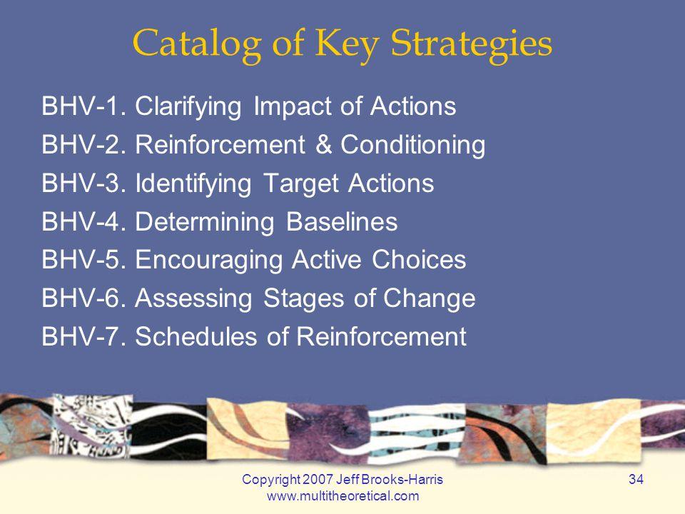 Copyright 2007 Jeff Brooks-Harris www.multitheoretical.com 34 Catalog of Key Strategies BHV-1.