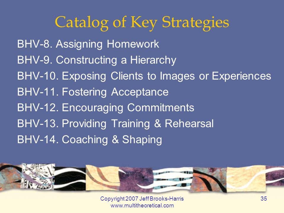 Copyright 2007 Jeff Brooks-Harris www.multitheoretical.com 35 Catalog of Key Strategies BHV-8.