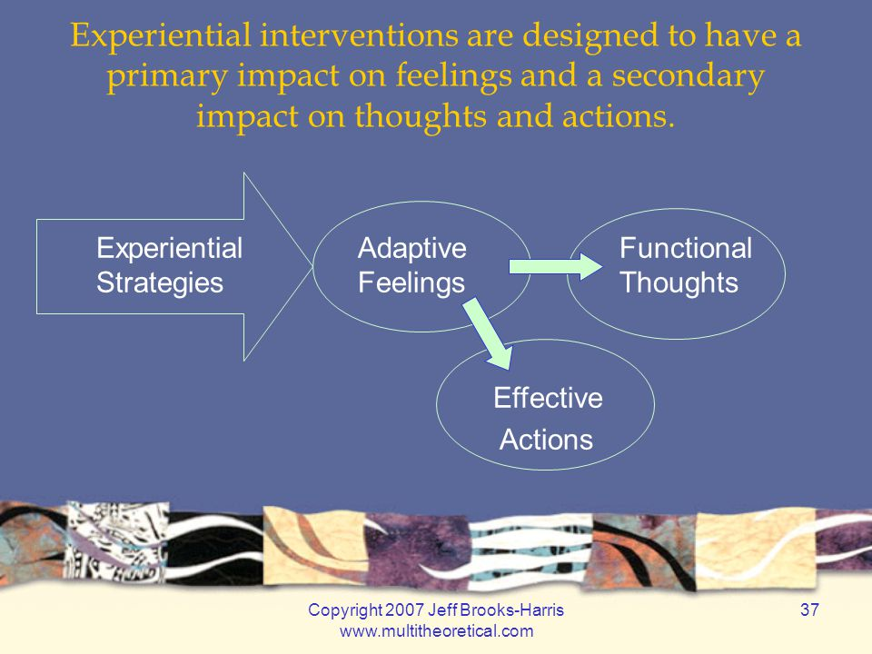 Copyright 2007 Jeff Brooks-Harris www.multitheoretical.com 37 Experiential interventions are designed to have a primary impact on feelings and a secondary impact on thoughts and actions.