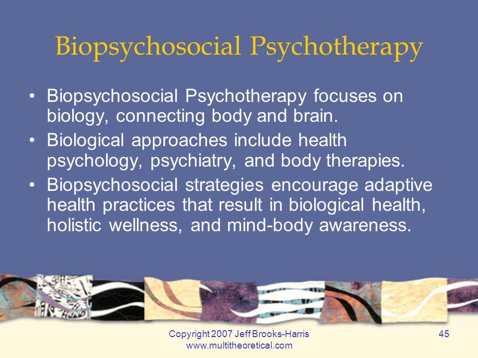 Copyright 2007 Jeff Brooks-Harris www.multitheoretical.com 45 Biopsychosocial Psychotherapy Biopsychosocial Psychotherapy focuses on biology, connecting body and brain.