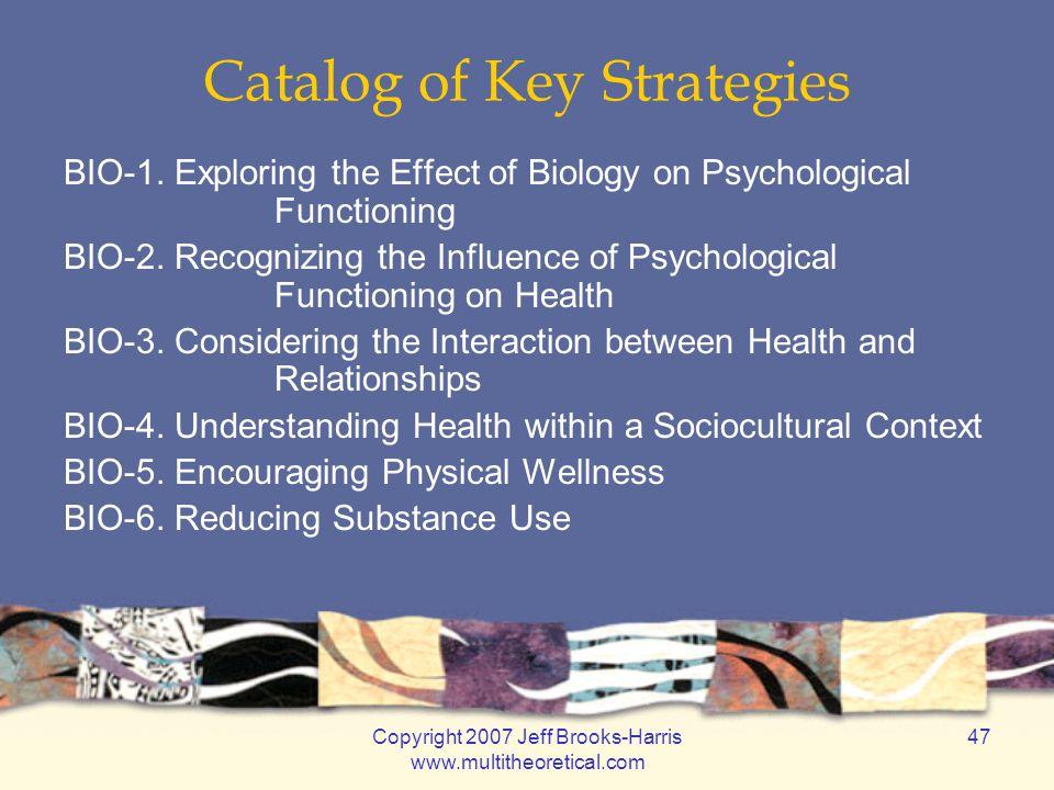 Copyright 2007 Jeff Brooks-Harris www.multitheoretical.com 47 Catalog of Key Strategies BIO-1.