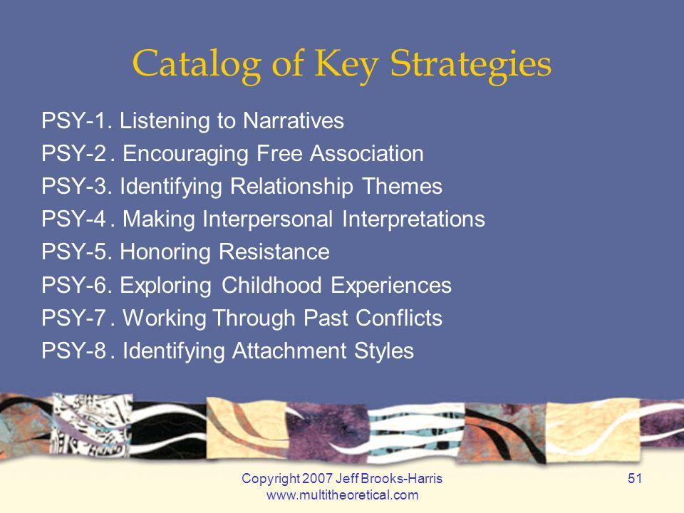 Copyright 2007 Jeff Brooks-Harris www.multitheoretical.com 51 Catalog of Key Strategies PSY-1.