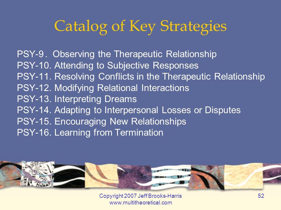 Copyright 2007 Jeff Brooks-Harris www.multitheoretical.com 52 Catalog of Key Strategies PSY-9. Observing the Therapeutic Relationship PSY-10. Attendin