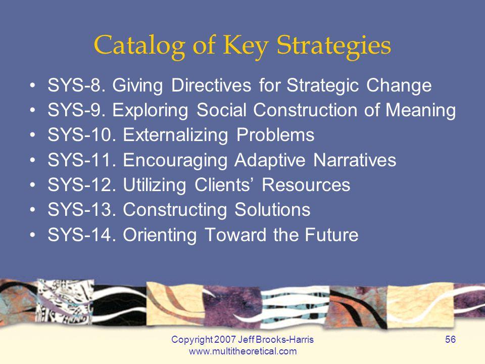Copyright 2007 Jeff Brooks-Harris www.multitheoretical.com 56 Catalog of Key Strategies SYS-8.