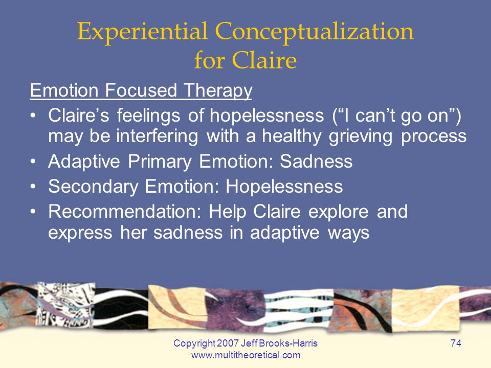 Copyright 2007 Jeff Brooks-Harris www.multitheoretical.com 74 Experiential Conceptualization for Claire Emotion Focused Therapy Claire's feelings of h