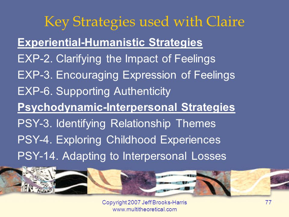 Copyright 2007 Jeff Brooks-Harris www.multitheoretical.com 77 Key Strategies used with Claire Experiential-Humanistic Strategies EXP-2. Clarifying the