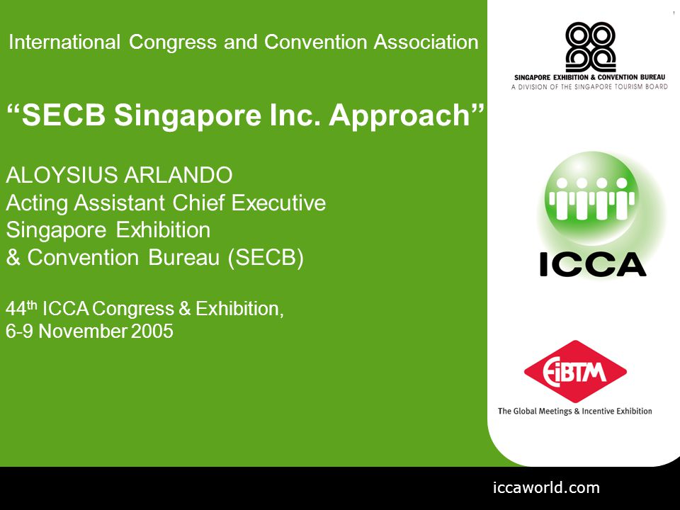  Introducing the New Industry-Focused Singapore Exhibition & Convention Bureau (SECB)  Sharing SECB's Singapore Inc. * Approach to Business Events OBJECTIVES * Singapore Inc. refers to Singapore Incorporated