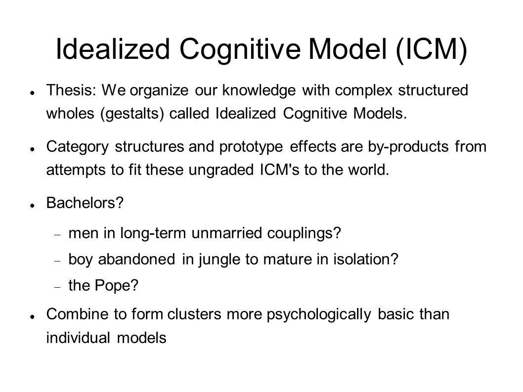 Idealized Cognitive Model (ICM) Thesis: We organize our knowledge with complex structured wholes (gestalts) called Idealized Cognitive Models.