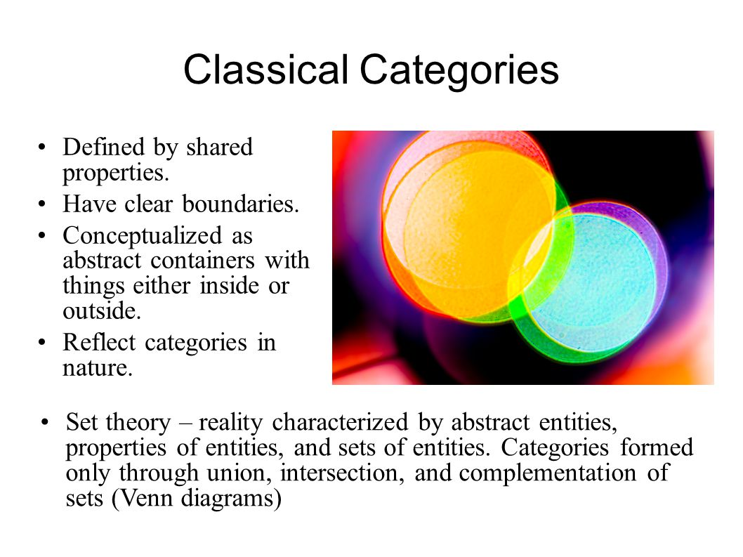 Rethinking Category Theory (and Linguistics, Philosophy, AI, IA...) Categorization in language is more often radial and metaphorical than hierarchical, and experientially-based Regardless of category type, general principles persist:  centrality  chaining  experiential domains  idealized models  specific knowledge  the other  no common properties  motivation