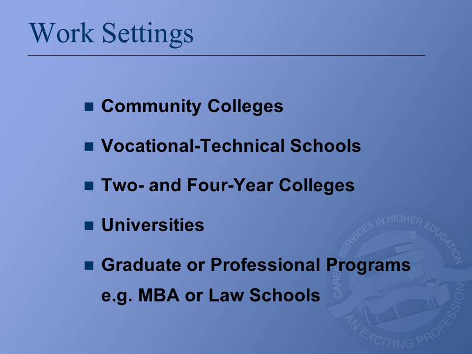 Work Settings Community Colleges Vocational-Technical Schools Two- and Four-Year Colleges Universities Graduate or Professional Programs e.g. MBA or L