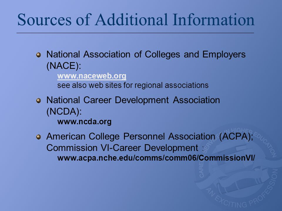 Sources of Additional Information National Association of Colleges and Employers (NACE): www.naceweb.org see also web sites for regional associations www.naceweb.org National Career Development Association (NCDA): www.ncda.org American College Personnel Association (ACPA); Commission VI-Career Development : www.acpa.nche.edu/comms/comm06/CommissionVI/