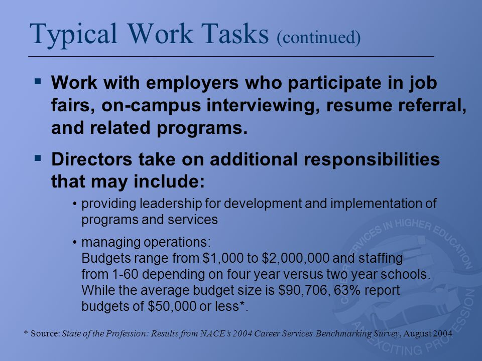 Typical Work Tasks (continued)  Work with employers who participate in job fairs, on-campus interviewing, resume referral, and related programs.