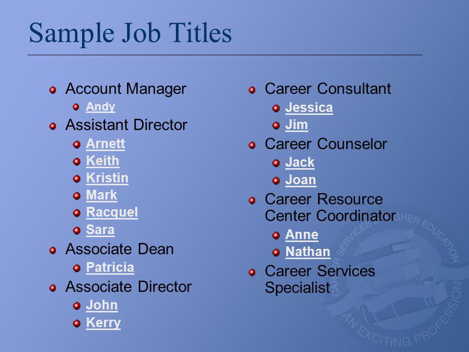 Sample Job Titles Account Manager Andy Assistant Director Arnett Keith Kristin Mark Racquel Sara Associate Dean Patricia Associate Director John Kerry