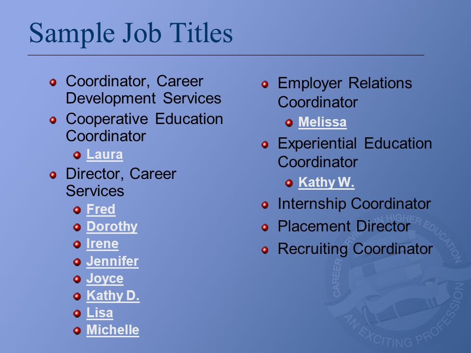 Sample Job Titles Coordinator, Career Development Services Cooperative Education Coordinator Laura Director, Career Services Fred Dorothy Irene Jennif