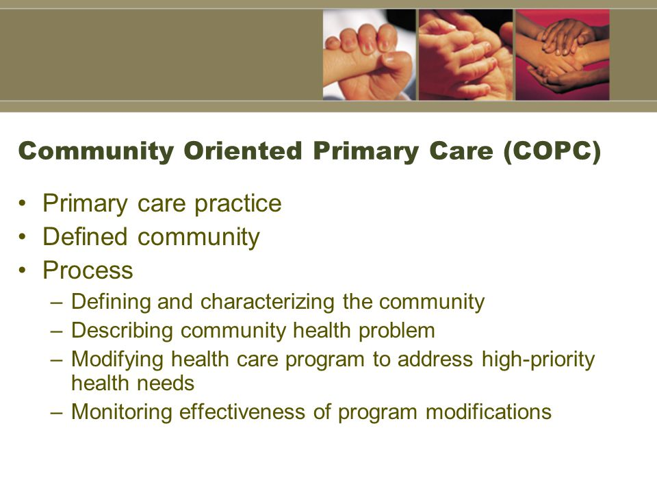 Community Oriented Primary Care (COPC) Primary care practice Defined community Process –Defining and characterizing the community –Describing community health problem –Modifying health care program to address high-priority health needs –Monitoring effectiveness of program modifications