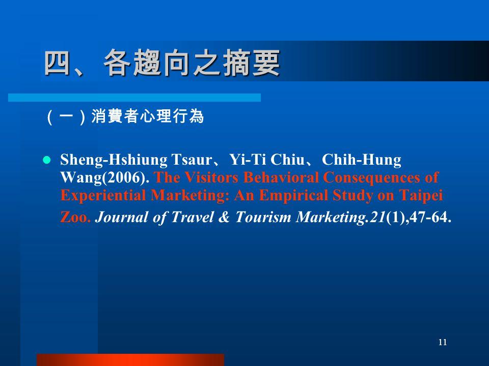 四、各趨向之摘要 (一)消費者心理行為 Sheng-Hshiung Tsaur 、 Yi-Ti Chiu 、 Chih-Hung Wang(2006).