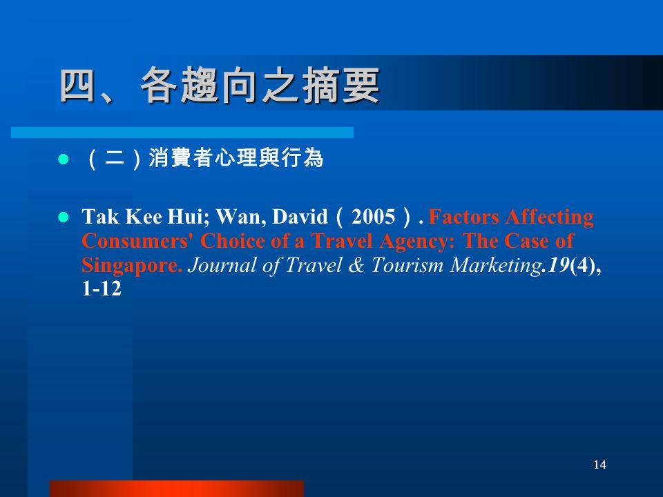 四、各趨向之摘要 (二)消費者心理與行為 Tak Kee Hui; Wan, David ( 2005 ).