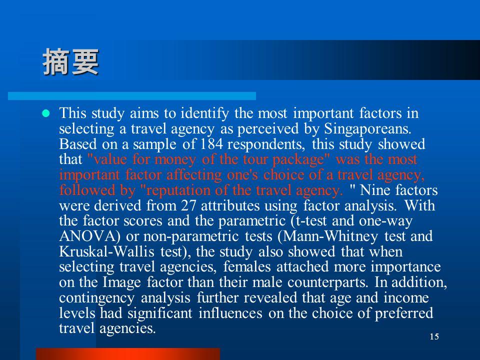 摘要 This study aims to identify the most important factors in selecting a travel agency as perceived by Singaporeans.