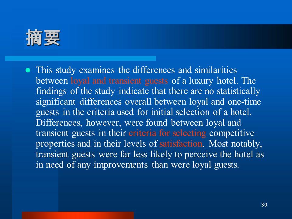 摘要 This study examines the differences and similarities between loyal and transient guests of a luxury hotel.
