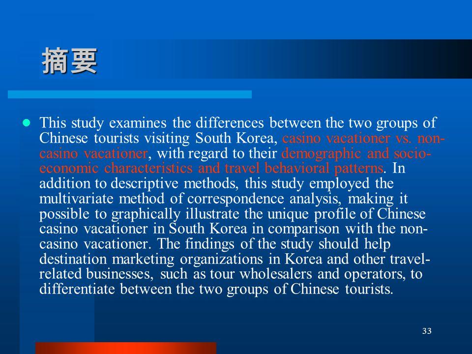 摘要 This study examines the differences between the two groups of Chinese tourists visiting South Korea, casino vacationer vs.