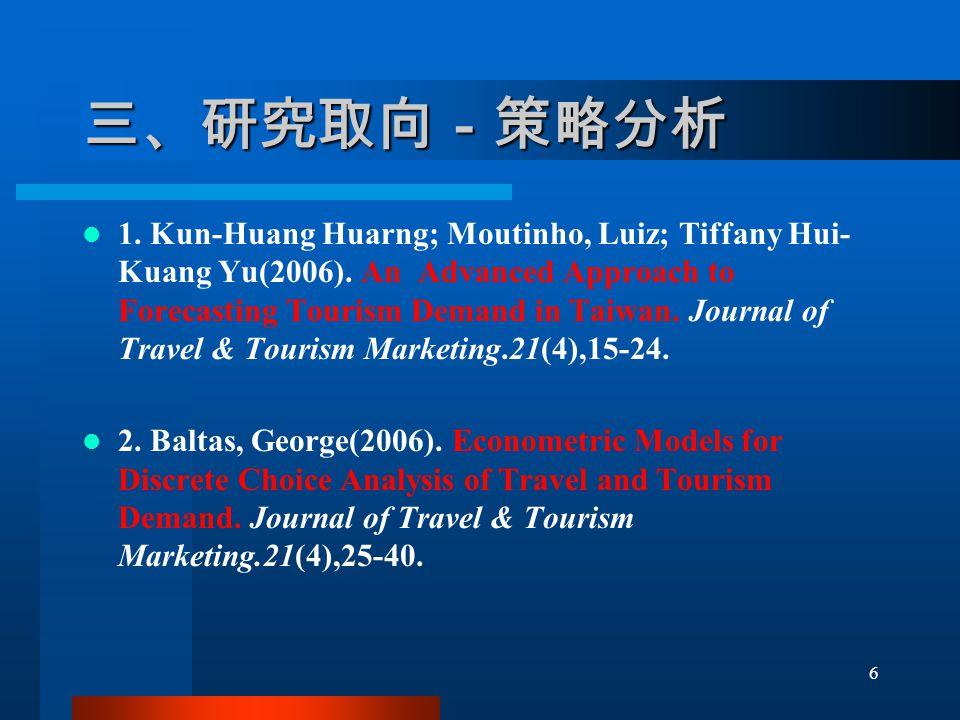 三、研究取向-策略分析 1. Kun-Huang Huarng; Moutinho, Luiz; Tiffany Hui- Kuang Yu(2006).